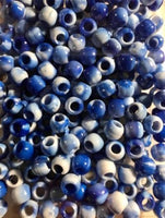 Blue tie dye medium hair beads