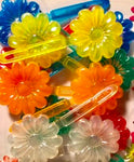 Primary color flower barrettes with sheen