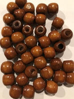 Brown Natural Wooden Hair Beads