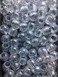 170pk Medium Clear Chubby Glitter Hair Beads