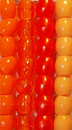 Barrel Hair Beads - Orange - extra large hole