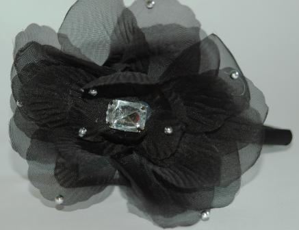 Flower Headband with Gem - Black