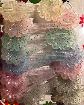 Kids Barrettes - Multi color glitter flower