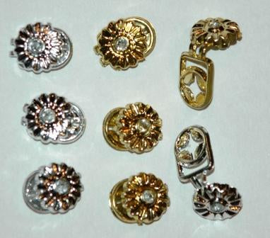 Gold and Silver Daisy Hair Snaps with Gems