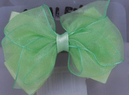 Layered Hair Bow - Green
