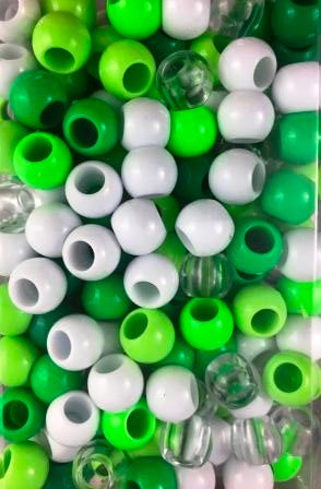 Shades of Green 170pk Medium Chubby Hair Bead Mix