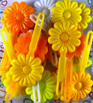 Yellows Peach and White large Daisy Barrettes