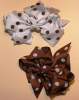 Brown and White Polka Dot Hair Bows (qty2)