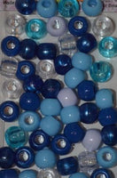 240pk Medium Shades of Blue Hair Beads