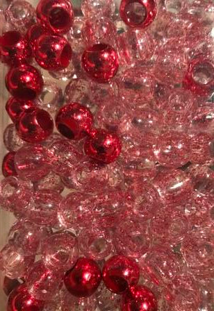 Medium Chubby Red and Glitter Hair Beads