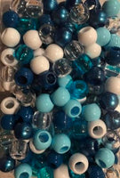 medium chubby shades of blue hair beads