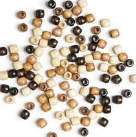 Medium Earthtones Wooden Hair Beads