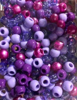 Purples Medium Chubby Hair Beads with Translucent