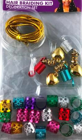 Multicolor hair braiding decoration set
