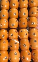 natural wood barrel hair beads with gems