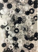 Navy blue, white and clear hair beads
