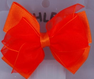 Layered Hair Bow - Orange