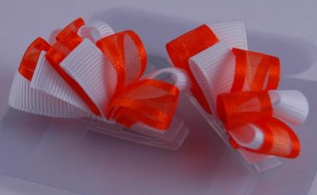 Orange and White Ribbon Hair Bows