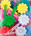 Pastel flower snap barrettes for braids