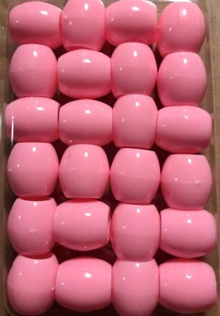 pink barrel hair beads