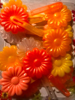 Pinks, Peach, Yellow, White and Clear Large Daisy Barrettes