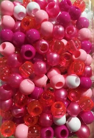 Medium Chubby Shades of Pink and White Hair Beads