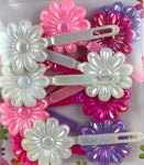 Pinks and Purple Flower Kids Barrettes with Sheen