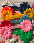 Primiary color snap hair barrettes with sheen