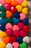 Primary color heart hair beads