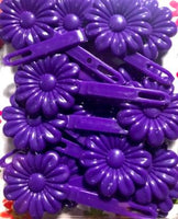 purple flower barrettes