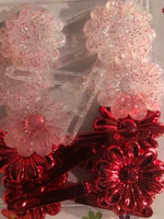 Red and Red Glitter Snap Barrettes