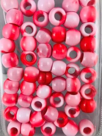 Red Tie Dye Medium Hair Beads