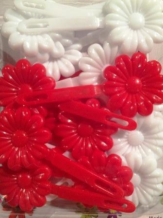 Red and White large Daisy Barrettes
