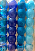 Shades of Blue Barrel Hair Beads