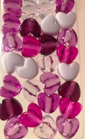 Shades of purple heart hair beads