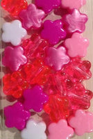 Shades of Pink Flower Hair Beads