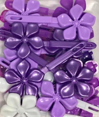 Shades of Purple flower hair barrettes