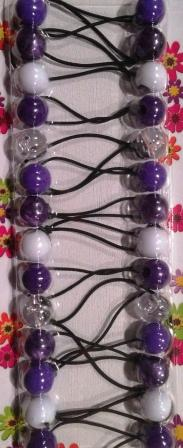 Small Assorted Purples, White, and clear Hair Ballies