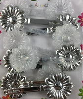 Silver glitter plastic barrettes for kids