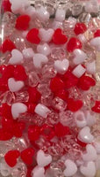 red white and clear heart hair beads