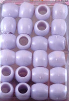 White Barrel Hair Beads - extra Large Hole