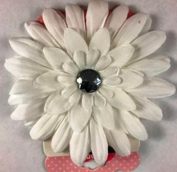 White Fresh Flower Hair Bow with bling