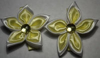 Yellow Star Flower Hair Clips with Gem (Qty 2)