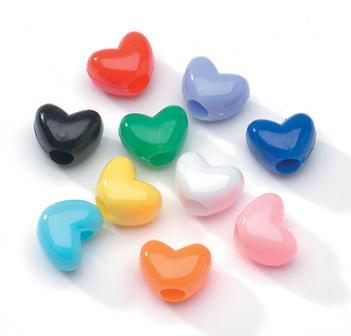 Assorted color heart hair beads 200 pack