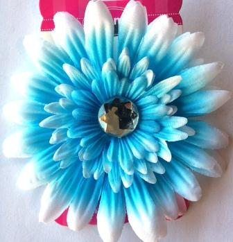 Blue Flower Hair Bow with Bling