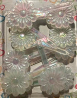 clear flower hair barrettes with sheen