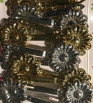 Silver and Gold Flower Barrettes