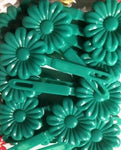 Green Large Daisy Barrettes