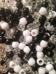 240pk Medium Black, White, Clear Hair Beads