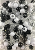 240pk Medium Hair Beads Black, White and Clear